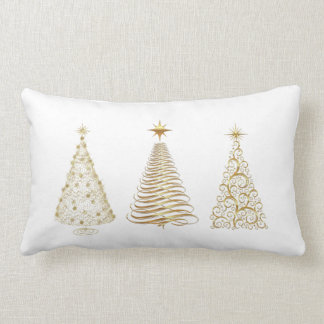 Golden christmas trees lumbar cushion