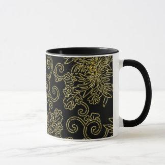 Golden chrysanthemum on black (japanese design) mug