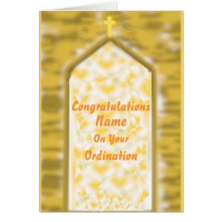 Golden Church Door Ordination Congratulations card