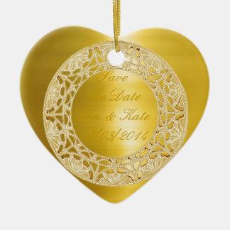 Golden Circle Ceramic Heart Decoration