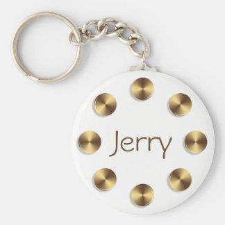 Golden circles design. Name. Key Ring