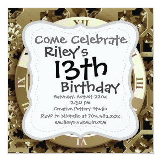 Golden Clocks and Gears Steampunk Mechanical Gifts 13 Cm X 13 Cm Square Invitation Card