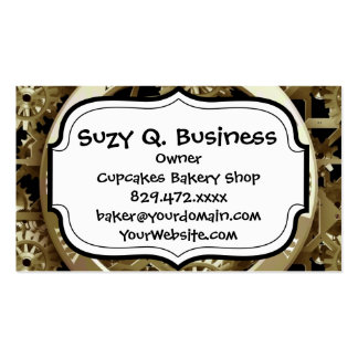 Golden Clocks and Gears Steampunk Mechanical Gifts Double-Sided Standard Business Cards (Pack Of 100)