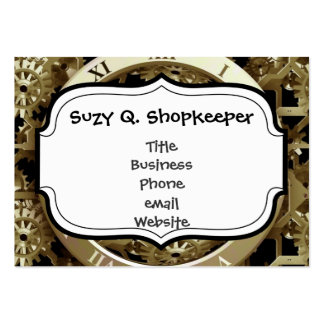 Golden Clocks and Gears Steampunk Mechanical Gifts Large Business Cards (Pack Of 100)