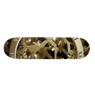 Golden Clocks and Gears Steampunk Mechanical Gifts Skateboard Deck