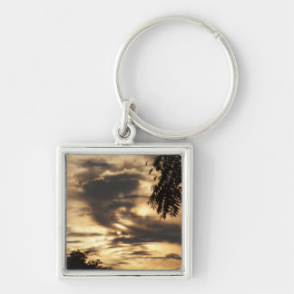Golden Clouded Sunrise Silver-Colored Square Key Ring