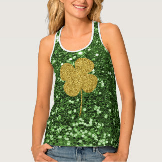 Golden Clover Green Faux Glitter Tank Top