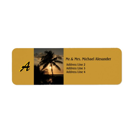 Golden Coastline Sunset Palm Tree with Monogram