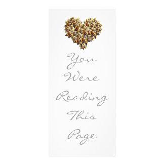 Golden Cockades Heart Bookmark Template Custom Rack Card