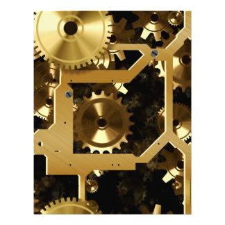 Golden Cogs And Gears 3 Dimensional 21.5 Cm X 28 Cm Flyer