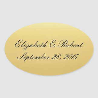 Golden Colored Wedding Seal Oval Sticker