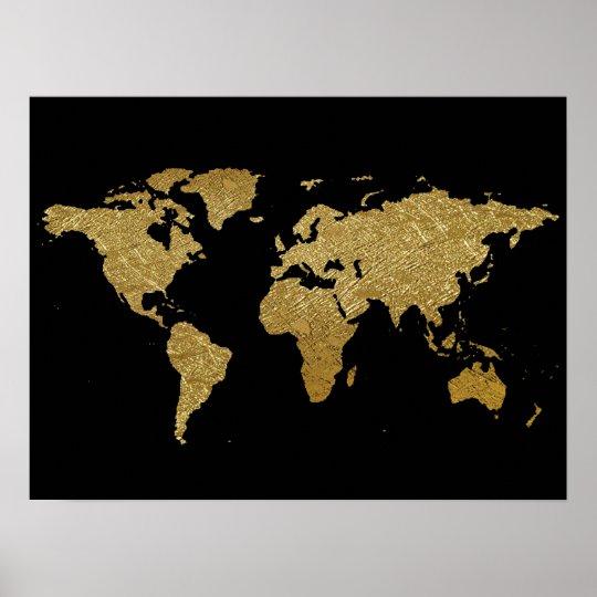 golden colour world map poster