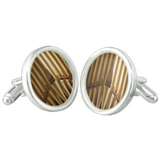 Golden coloured organ pipes cuff links