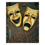 Golden comedy and tragedy masks on patterned