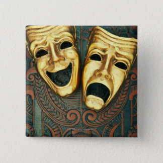 Golden comedy and tragedy masks on patterned 15 cm square badge