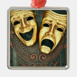Golden comedy and tragedy masks on patterned christmas ornament
