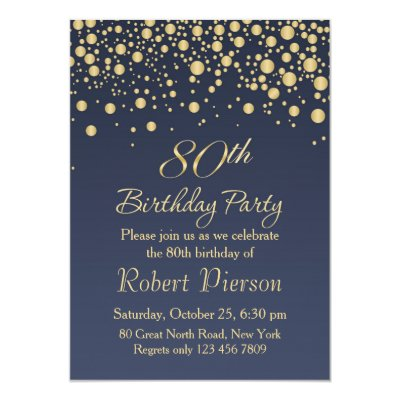golden confetti 80th birthday party invitation zazzle co uk