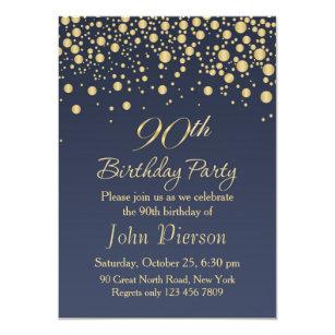 Golden Confetti 90th Birthday Party Invitation