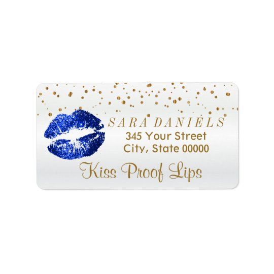 Golden Confetti & Blue Glitter Lips Label