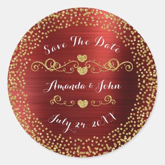 Golden Confetti Glitter Save the Date Red Glam