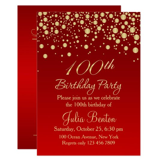 Golden confetti on red 100th birthday invitation zazzle golden confetti on red 100th birthday invitation stopboris Images