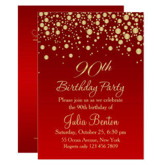 Golden confetti on red 90th Birthday Invitation