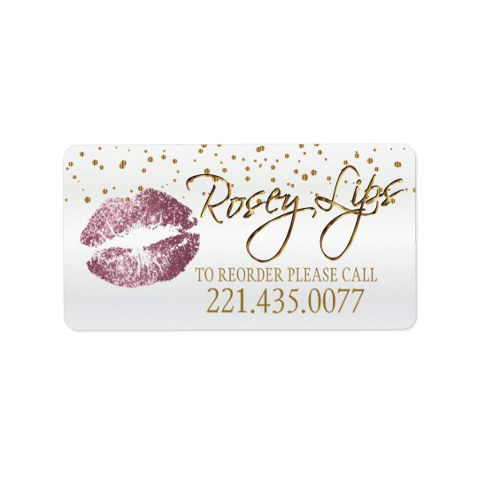 Golden Confetti & Pink Rose Lips - Reorder Address Label