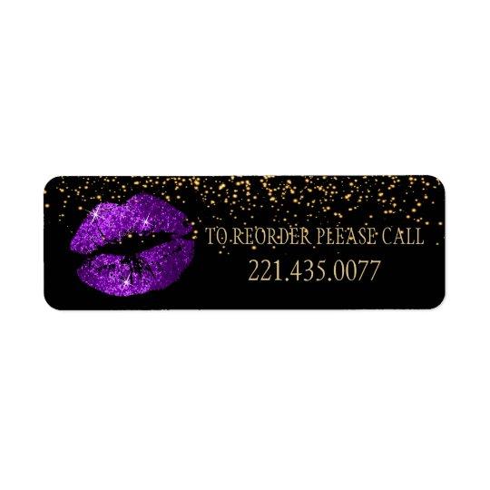 Golden Confetti & Purple Lips 2 - Reorder Return Address Label