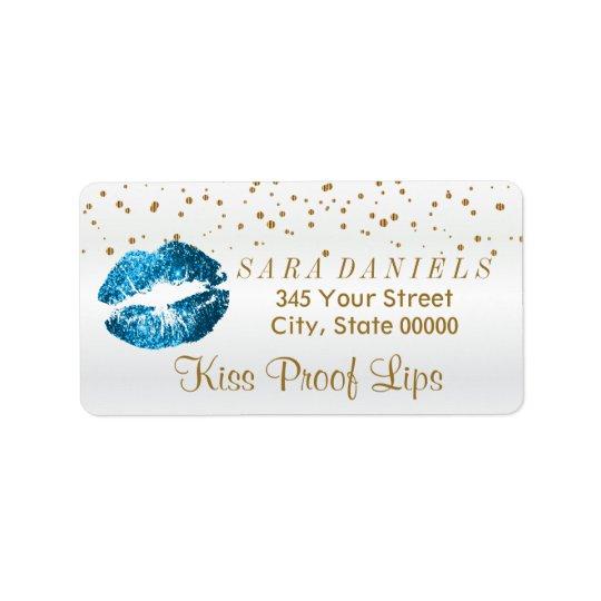 Golden Confetti & Turquoise Blue Lips Address Label