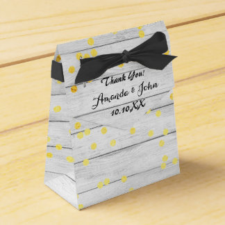 Golden Confetti White Wood Wedding Favor Thank You Favour Boxes