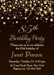 85th birthday invitations announcements zazzle golden confettti 85th birthday party invitation filmwisefo Choice Image