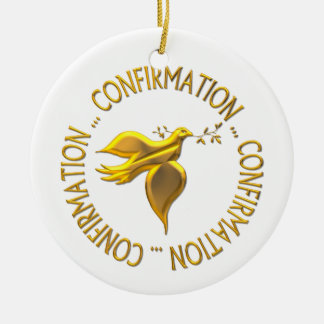 Golden Confirmation and Holy Spirit Christmas Ornament