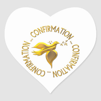 Golden Confirmation and Holy Spirit Heart Sticker