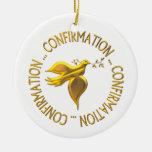 Golden Confirmation and Holy Spirit Round Ceramic Decoration