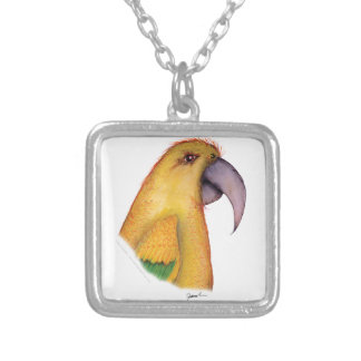 golden conure parrot, tony fernandes silver plated necklace