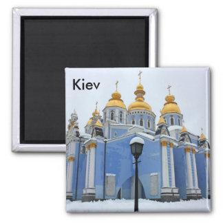 Golden copes of in cathedral in Kiev taken in s... Square Magnet