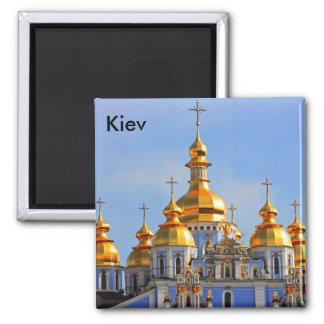 Golden copes of in cathedral in Kiev taken in spri Square Magnet