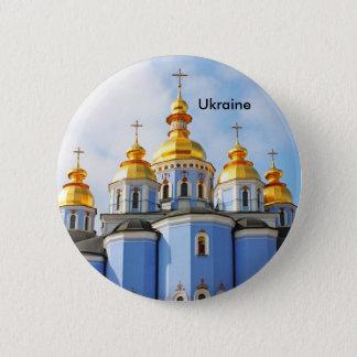 Golden copes of in cathedral in Kiev, Ukraine 6 Cm Round Badge