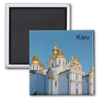 Golden copes of st. Michael in cathedral in Kiev Square Magnet