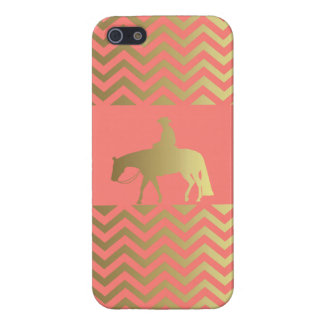 Golden Coral Chevrons Western Pleasure Horse iPhone 5 Cases