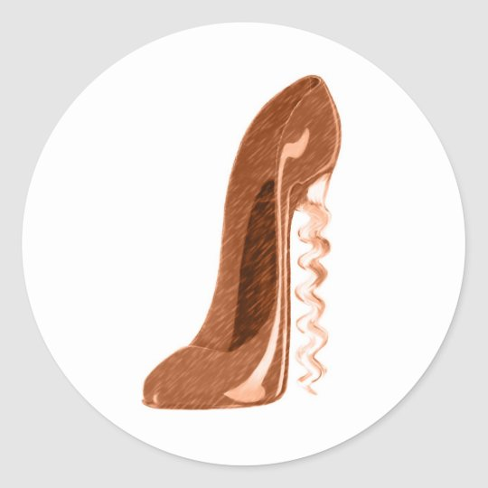 Golden Corkscrew Stiletto Shoe Art Classic Round Sticker