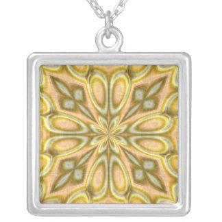 Golden Crazy Daisy Square Pendant Necklace