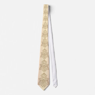 Golden cream color damask roses wedding tie