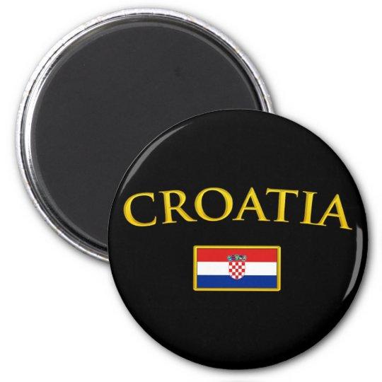 Golden Croatia 6 Cm Round Magnet