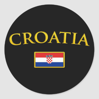 Golden Croatia Classic Round Sticker