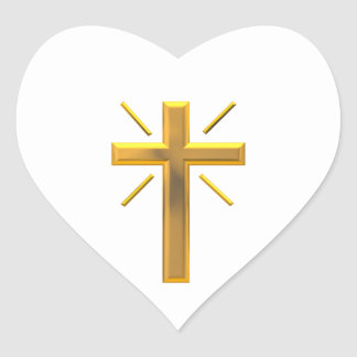 Golden Cross 4 Heart Sticker