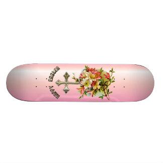 Golden Cross and Easter Flowers Custom Skateboard