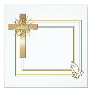 Golden cross and praying hands invitations