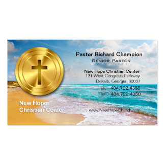Golden Cross Beach Christian Minister/Pastor Pack Of Standard Business Cards