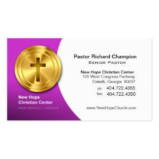 Golden Cross Christian Symbol Minister/Pastor Pack Of Standard Business Cards
